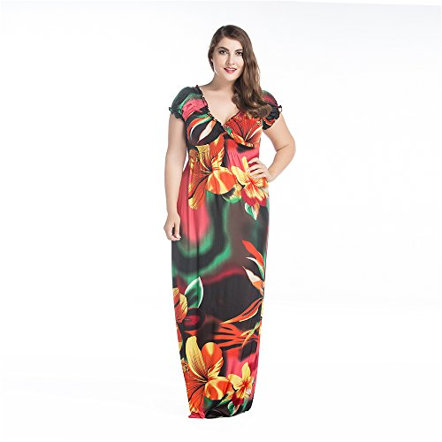 JOTHIN Damen V-ausschnitt Bedrucktes Sommer Strandkleider Mollige Hohe  Taille Loses Kleider Plus Size Bunt c2bd0b9ccb