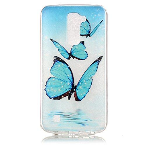 LG K10 Hülle,SainCat Silikon Hülle Tasche Handyhülle [Kratzfeste, Scratch-Resistant] TPU Gel Bumper Case Weiches Transparentes Silikon Schutzhülle Crystal Kirstall Clear Case Durchsichtig Malerei Must Drei Blue Butterfly