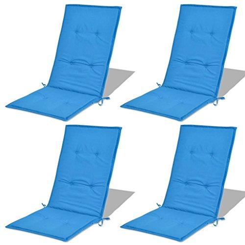 Festnight 4 STK Hochlehner Auflage Stuhlauflage Sitzauflage Blau 120 x 50 x 3 cm