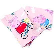 Peppa Pig - Juego de sábanas para cama, 150x 300 / 90x 200 / 52x 80cm, color rosa