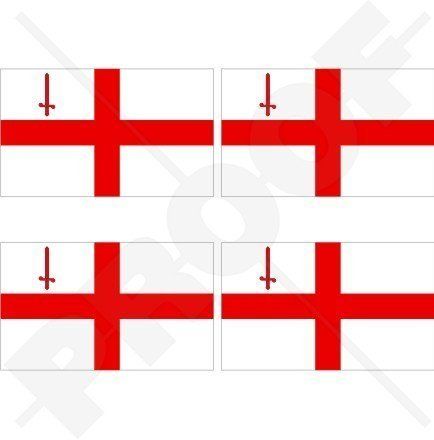 STADT LONDONS Flagge St. George's Cross England Großbritannien UK 50mm Auto & Motorrad Aufkleber, x4 Vinyl Stickers (St George Flagge Aufkleber)
