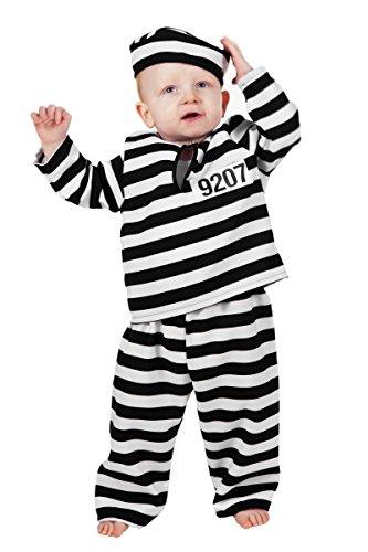 Kinder Kostüm Baby Sträfling Gefangener Karneval Fasching Gr.98