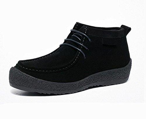 casual chaussures montantes en cuir automne et en hiver respirant hommes ont augmenté rondes hommes à fond épais