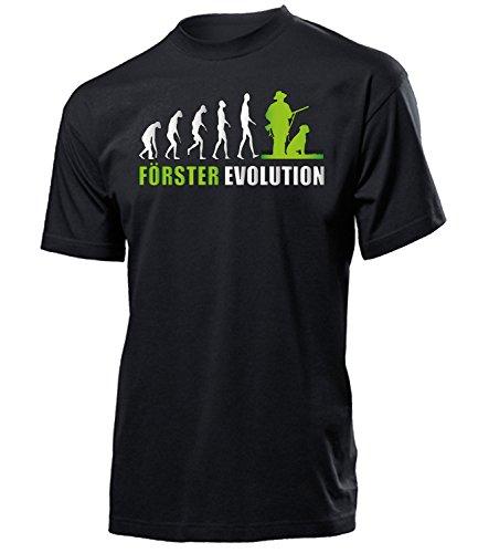 Förster Evolution 5912 Jäger t Shirt Fun Männer Herren Geschenke Ideen für Artikel ausrüstung kostüm Jägerei Kleidung Schwarz Aufdruck Grün ()