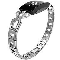 Metal Polsband, Compatibel met Fitbit Inspire Strap, RVS Knipsel Vervanging Bands voor Fitbit Inspire/HR Strap Fitness Tracker,Silver