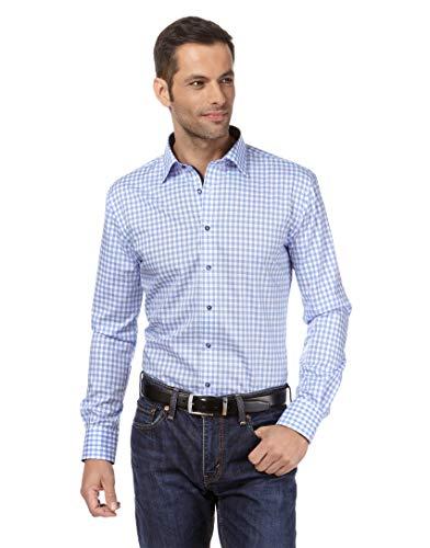 Vincenzo Boretti Herren-Hemd bügelfrei 100% Baumwolle Regular-fit kariert New-Kent Kragen - Männer lang-arm Hemden für Anzug Krawatte Business Hochzeit Freizeit hellblau 45/46