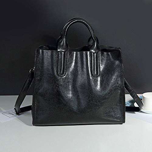 Umhängetasche Retro Handtaschen Motorrad Tasche Damen Handtasche Schultertasche Leder Handtasche Convertible Messenger Bag Damen Tasche (Color : Black) - Convertible Messenger Bag