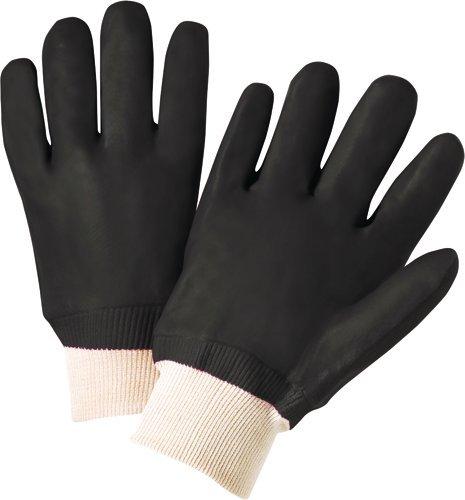 West Chester 12000PVC beschichtet Interlock gefüttert Handschuh, Arbeit, Knit Handgelenk Manschette, 9–520,3cm Länge, groß, Schwarz (1Paar) (Schwarz Handschuhe Pvc-beschichtete)