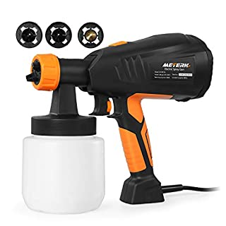 Paint Sprayer,Meterk Electric Spray Gun 400W Advanced Handheld Paint Gun with 3 Spray Patterns and 800ml/min Paint Sprayer 800ml Detachable Container Adjustable Valve Knob and Replaceable Air Filter