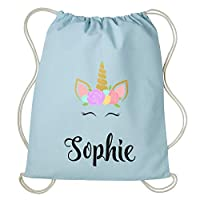 Personalised Unicorn Drawstring Bag Any Name PE Gym Sack School Bag For Girls Backpack