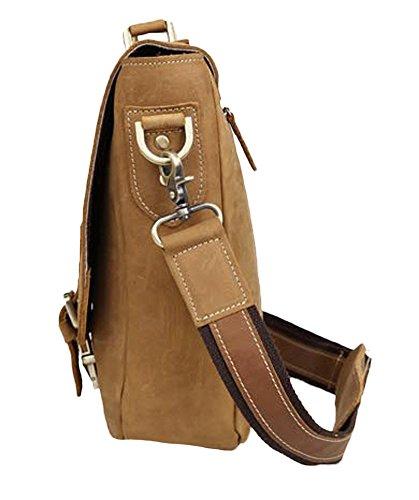 Insun , Sacs à bandoulière homme Camel Crazy Horse Leather
