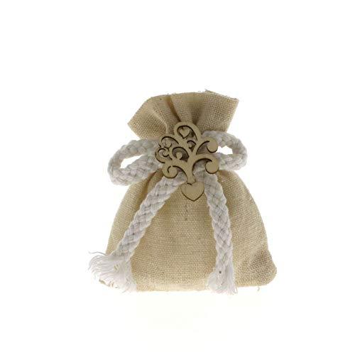Formoso bomboniera sacchetto in yuta con inserto albero cuore legno 12 pz art c1864