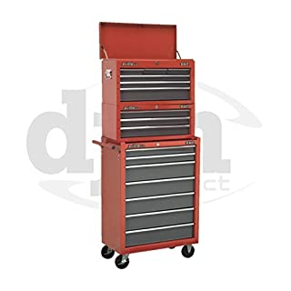 Red Sealey 16 Drawer Top Chest Box Roller Roll Cabinet Tool Storage Toolbox