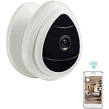 Nexgadget Mini Caméra IP Sans Fil, Caméra de Sécurité IP WiFi pour la Surveillance de Bébé et des Animaux de Compagnie, Caméra Réseau avec Uniquement Audio Unidirectionnelle et Vision Diurne, Alerte de Détection de Mouvement ( blanc)