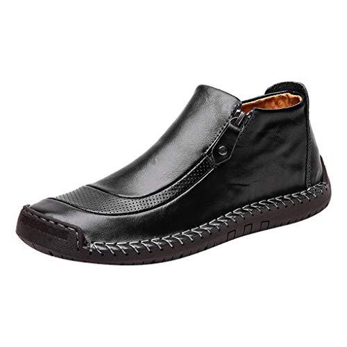 Skxinn Herren Stiefel Klassische Kurz Stiefeletten Schuhe Winter Atmungsaktiv Slip-On Stiefel Kunstlederschuhe Boots Gr 39-48(Schwarz,47 EU) -