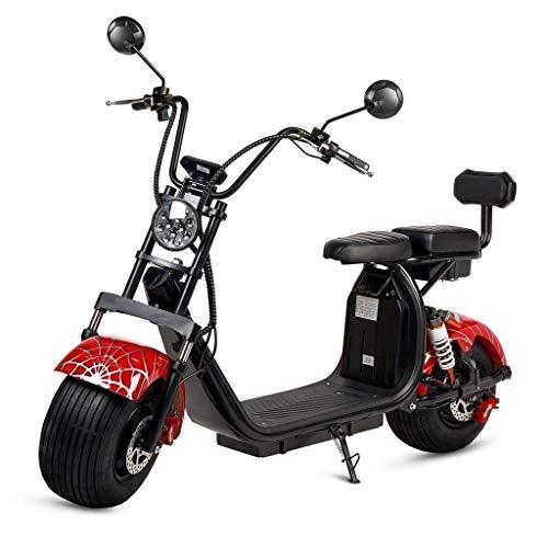 VIRTUE Moto electrica Scooter 1200w bateria 12Ah 60v Patinete Patin Bici Bicicleta Motor Chopper City Coco Negra y Roja Spider