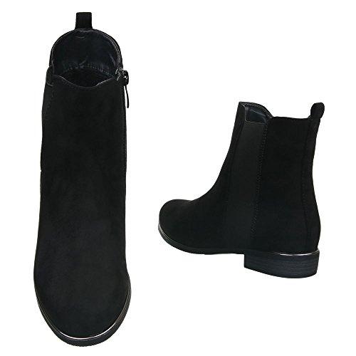 Damen Schuhe Leicht Gefüttert Blockabsatz Stretch Stiefeletten Stretch Boots Komfort Stiefeletten Schwarz
