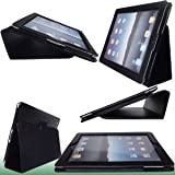 TG Cases® New Apple iPad Air, iPad 5 (Released November 2013) Premium Folio PU Leather Case / Cover / Wallet and Flip Stand With Built-in Magnet For Standby Sleep / Wake Feature + 1 Included Screen Protector and Stylus Pen for New Apple iPad Air 5th Generation - Life-Time Warranty - (Available in Multiple Colors) (Black)