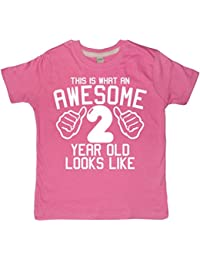 Edward Sinclair This What AN Awesome 2 Year Old Looks Like Bubblegum Pink Girls 2nd Birthday T-Shirt In Size 2-3 Years With A White Glitter Print