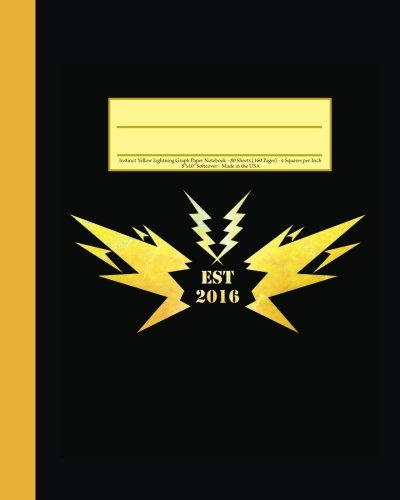 instinct-yellow-lightning-graph-paper-notebook-160-page-softcover-journal-4-squares-per-inch-graph-p
