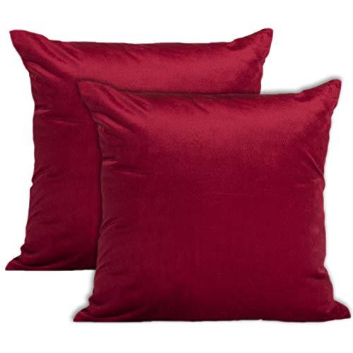Encasa Homes Kissenbezüge aus Samt - 2er-Set (40 x 40 cm) - Rot - Uni gefärbt, weich & glatt, waschbar, quadratisch, großer Wurfkissenbezug für Couch, Sofa, Stuhl, Bett und Wohnbereich