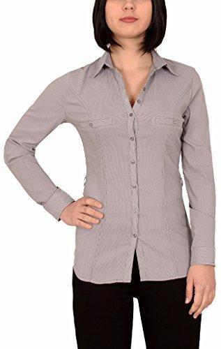 by-tex Damen Stretch - Business - Bluse Damen Popeline lange Bluse Hemd Langarm mit Nadelstreifen in aktuellen Farben B302 (Damen Nadelstreifen-hemd)
