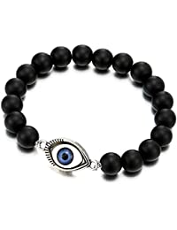 Pulsera de 10MM Estera Negro Ónix Perlas con Charm Mal de Ojo Protección, Brazalete de Hombre Mujer, Prayer Mala