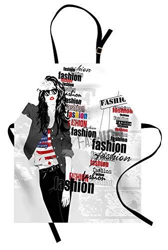 Abakuhaus Mädchen Kochschürze, EIN modernes jugendlich Mädchen mit USA-Flaggen-T-Shirt Mode-Obsessions-Schönheit in der Straße, Maschienenwaschbar Wasserdicht kein Verblassen, Weiß Schwarz Rot