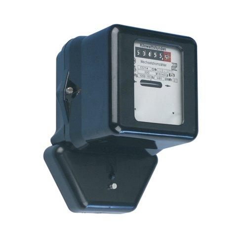 REV WECHSELSTROMZÄHLER ǀ mechanischer Zwischen-Stromzähler zur internen Energieverbrauchs-Kontrolle ǀ 230V 10/40A 50Hz ǀ ungeeicht ǀ Farbe: schwarz