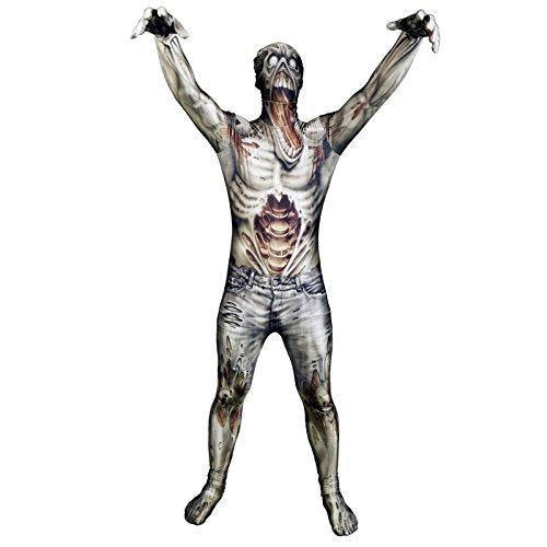 Kostüm Zombie Anzug - Zombie Morphsuit Verkleidung, Kostüm Large - 5'5-5'9 (163cm-175cm)