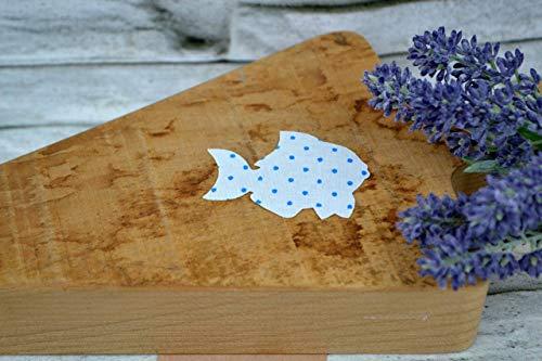 Applikation Fisch aus Bio-Baumwolle, 4 Stück, ca. 4 x 4,5 cm, Bügelbild, Aufnäher, Patch Aufbügeln, Mädchen, Junge, blau hellblau Punkte -