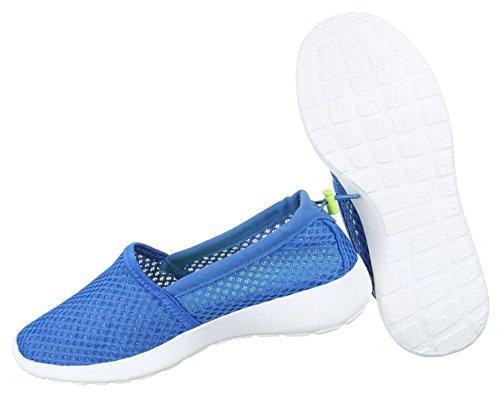 Damen Halbschuhe Schuhe Mokassin Flats Slipper Schwarz Blau Grau Weiß 36 37 38 39 40 41 Blau