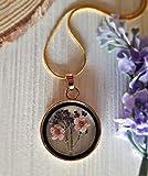 Collar de flor rosa y morado con cadena de oro 18k collar de medallón de oro colgante de flores prensado joyas hechas a mano para las mujeres Regalo del dia de la madre