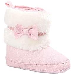 Kingko® Infantile Calze Scarpe bambino Bowknot tenere in caldo scarpe morbide Sole neve stivali morbidi greppia del bambino Stivali regalo di Natale (6~12 mesi, Rosa)