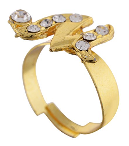 Modish Look Gold Alloy Adjustable Ring For Girls, Women English Alphabet Name Jewelry
