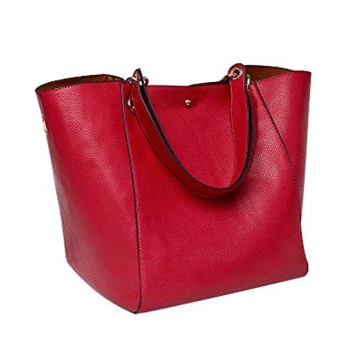 YAAGLE Damen wasserdichte Handtsche Mode Schultertasche Lässig Umhängetasche Bildpaket Shopper+ Ein Federmäppchen/Geldbeutel/ Kosmetikbeutel (Schwarz) Rot