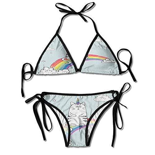 Padded Halter Bikini Set,Rainbow Follow Your Dreams Sexy Bikini 2 Pieces Dreams Thong Sandal