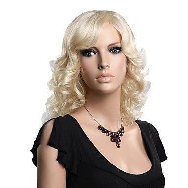 HJL-senza tappo sintetico di alta qualità di media lunghezza moda parrucca bionda ondulata