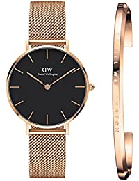Daniel Wellington Petite Melrose Analogue Black Dial Women's Watch 32Mm & Rose Gold Cuff Combo - Dw00500007