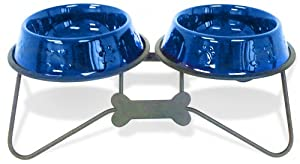 Platinum Pets 24oz Double Diner Bow-tie Stand With Stainless Steel Dog Bowls In Sapphire Blue from Platinum Pets, Inc