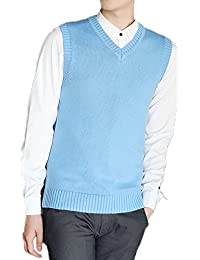 Idopy Chaleco sin mangas clásico del chaleco de los hombres Chaleco sin mangas clásico del suéter del color sólido