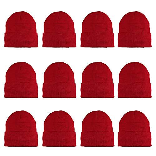 Gelante 3M Thinsulate Damen Herren Strickmütze Thermomütze, Casual-Bohnen-Großhandel, 12 Packungen - Rot - Einheitsgröße - Herren-bohnen