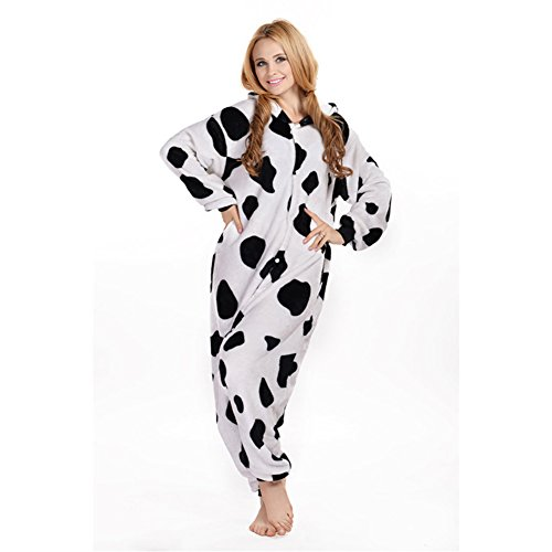 LPATTERN Unisex-Erwachsene Cosplay Pyjamas Onesie  Tier Kostüm Schlafanzug Jumpsuit für Halloween Karneval, Kuh, X-Large (Korpergröße 178-188CM)