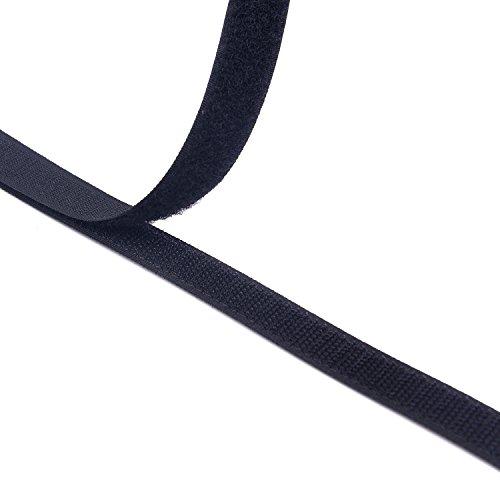 16MM Breite 10 Meter lang Klettband selbstklebend Nähen auf Haken und Schleife Streifen mit Nicht-Adhesive Backed Nylongewebe Fasten Set,schwarz