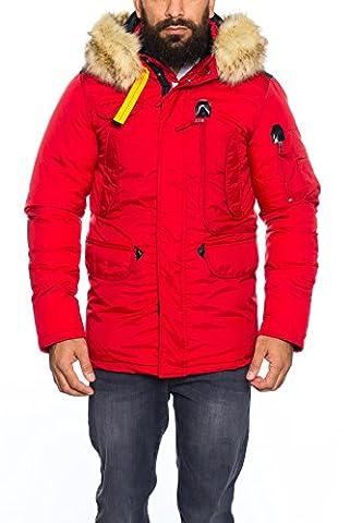 Husaria warme Winter Herren Jacke mit Fell und Kapuze S189 (M, Rot)