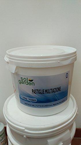 10 kg Multifuzione pastiglie cloro 200 gr multiazione polifunzione tricloro 90% dissoluzione lento dissolvimento trattamento acqua piscina
