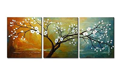 Wieco Art - Full blossom Modern Canvas Wall Art Decor Framed Floral Oil Paintings on Canvas