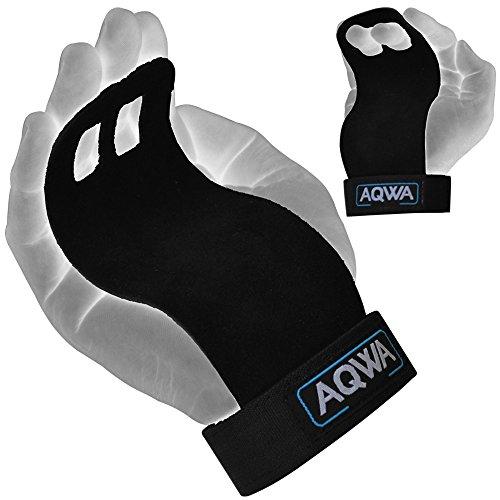 Aqwa Grip Gewicht Lifting Leder Palm Handgelenk Unterstützung Gym Hand Guard Packungen Trainingsbndern Bandage schwarz -