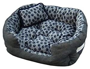 Pet Bed Size M 60x50x18 Grey Footprint Dog Bed+Cat Bed 100% Cotton from eyepower