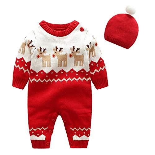 DEMU Baby Set Strampler Jumpsuit Spielanzug Schlafanzug Tieroutfit Cosplay Jumpsuit mit Strickmütze Elch 66